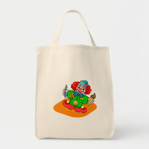 kiddie clown with pencil and ice cream canvas bag