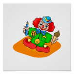 kiddie clown with pencil and ice cream print