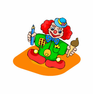 kiddie clown with pencil and ice cream statuette