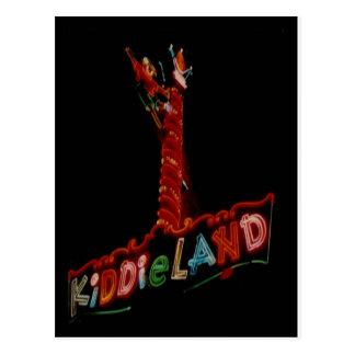 Kiddieland Melrose Pk Vintage Neon Sign Post Card Postcard