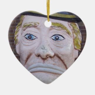 Kiddieland Sad Clown Double-Sided Heart Ceramic Christmas Ornament