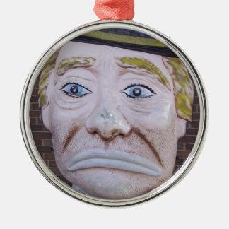 Kiddieland Sad Clown Round Metal Christmas Ornament