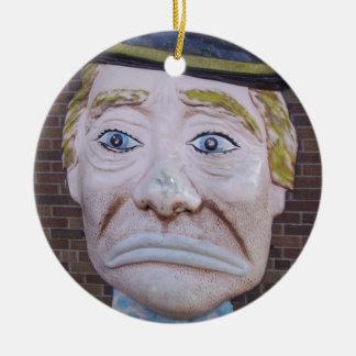 Kiddieland Sad Clown Double-Sided Ceramic Round Christmas Ornament