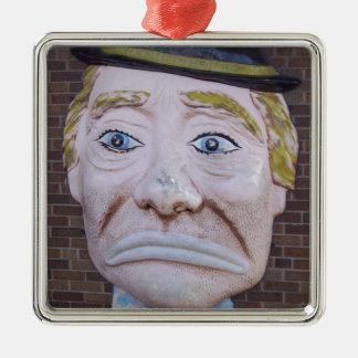 Kiddieland Sad Clown Square Metal Christmas Ornament