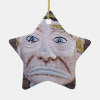 Kiddieland Sad Clown Double-Sided Star Ceramic Christmas Ornament