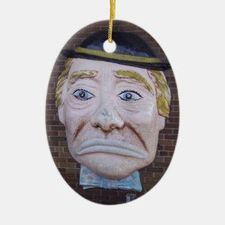 Kiddieland Sad Clown Double-Sided Oval Ceramic Christmas Ornament