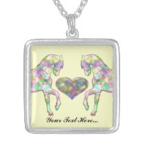 Kiddies Horse and Love Heart Silver Plated Necklace