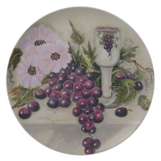 Kiddush Cup-Red Grapes Plate
