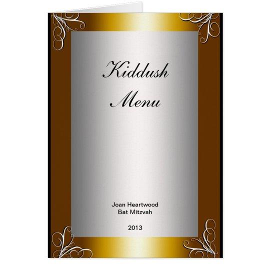 Kiddush Menu for Bat or Bar Mitzvah  Popular Card
