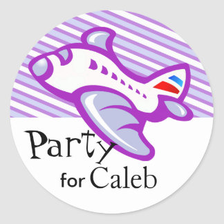 Kiddy Airplane & Stripes Party Favor | lilac Classic Round Sticker