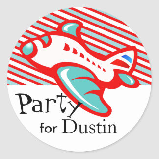 Kiddy Airplane & Stripes Party Favor | red teal Round Stickers