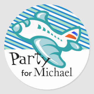 Kiddy Airplane & Stripes Party Favor | teal Sticker