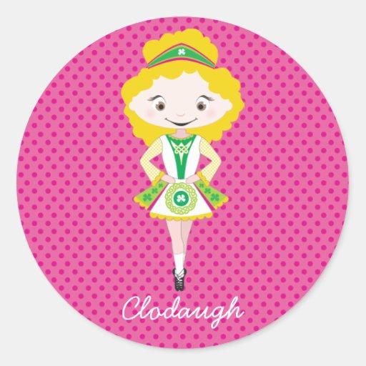 KIDLETS:: blonde irlandés del bailarín Pegatina Redonda