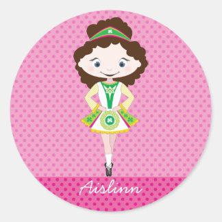 KIDLETS irish dancer dancing brown hair Classic Round Sticker