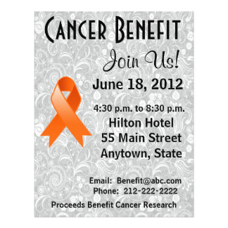 Kidney Cancer Awareness Benefit Gray Floral Flyer