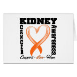 Kidney Cancer Awareness Brushed Heart Ribbon v1 Greeting Card