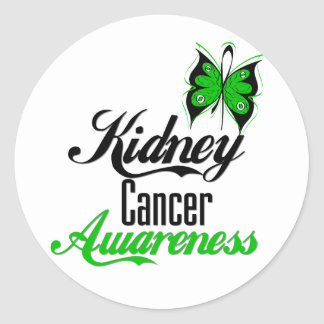 Kidney Cancer Awareness Green Butterfly Stickers