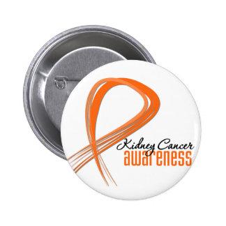 Kidney Cancer  Awareness Grunge Orange Ribbon 2 Inch Round Button