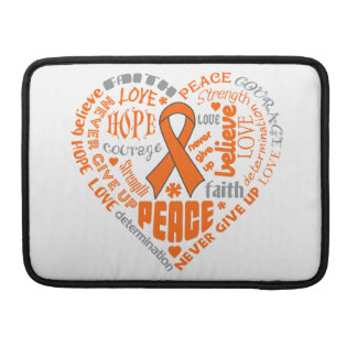 Kidney Cancer Awareness Heart Words Sleeve For MacBook Pro
