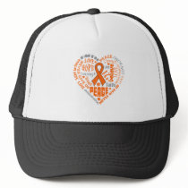 Kidney Cancer Awareness Heart Words Trucker Hat