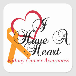 Kidney Cancer Awareness I Have A Heart Square Sticker