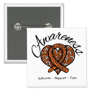 Kidney Cancer Awareness Mosaic Heart v2 2 Inch Square Button