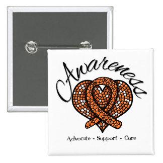 Kidney Cancer Awareness Mosaic Heart v2 Buttons