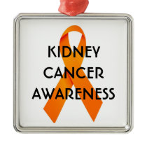 Kidney Cancer Awareness Ribbon Metal Ornament