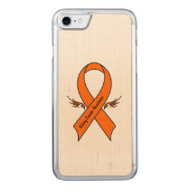 Kidney Cancer Awareness Ribbon with Wings Carved iPhone 7 Case