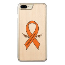 Kidney Cancer Awareness Ribbon with Wings Carved iPhone 8 Plus/7 Plus Case