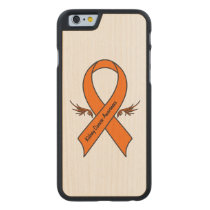 Kidney Cancer Awareness Ribbon with Wings Carved Maple iPhone 6 Case