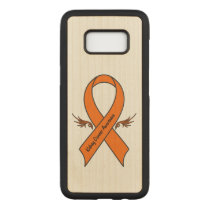 Kidney Cancer Awareness Ribbon with Wings Carved Samsung Galaxy S8 Case