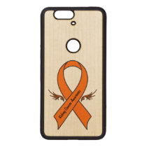 Kidney Cancer Awareness Ribbon with Wings Wood Nexus 6P Case