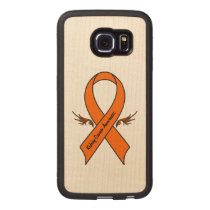 Kidney Cancer Awareness Ribbon with Wings Wood Phone Case