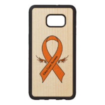 Kidney Cancer Awareness Ribbon with Wings Wood Samsung Galaxy S6 Edge Case