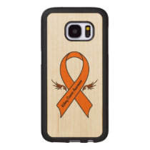 Kidney Cancer Awareness Ribbon with Wings Wood Samsung Galaxy S7 Case