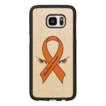 Kidney Cancer Awareness Ribbon with Wings Wood Samsung Galaxy S7 Edge Case