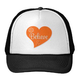 Kidney Cancer Believe Orange Heart Hat