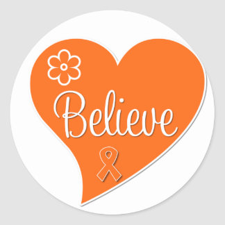 Kidney Cancer Believe Orange Heart Classic Round Sticker