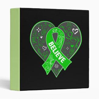 Kidney Cancer Believe Ribbon Heart Vinyl Binders