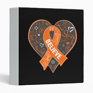 Kidney Cancer Believe Ribbon Heart v2 3 Ring Binders