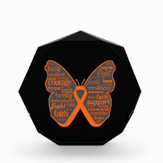 Kidney Cancer Butterfly Collage of Words Acrylic Award