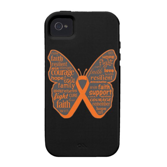 Kidney Cancer Butterfly Collage of Words iPhone 4 Cover
