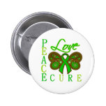 Kidney Cancer Butterfly Peace Love Cure Button