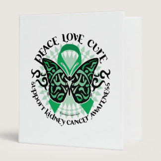 Kidney Cancer Butterfly Tribal 3 Ring Binder
