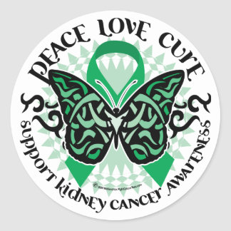 Kidney Cancer Butterfly Tribal Classic Round Sticker