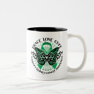 Kidney Cancer Butterfly Tribal Two-Tone Coffee Mug