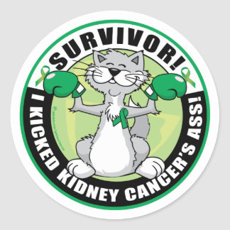 Kidney Cancer Cat Survivor Classic Round Sticker