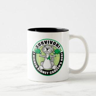 Kidney Cancer Cat Survivor Two-Tone Coffee Mug