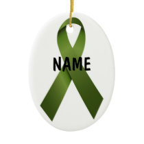 Kidney Cancer Christmas Ribbon Ceramic Ornament